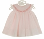 NEW Sarah Louise Pink Voile Bishop Smocked Dress with Angel Sleeves and Pink and White Rosebuds