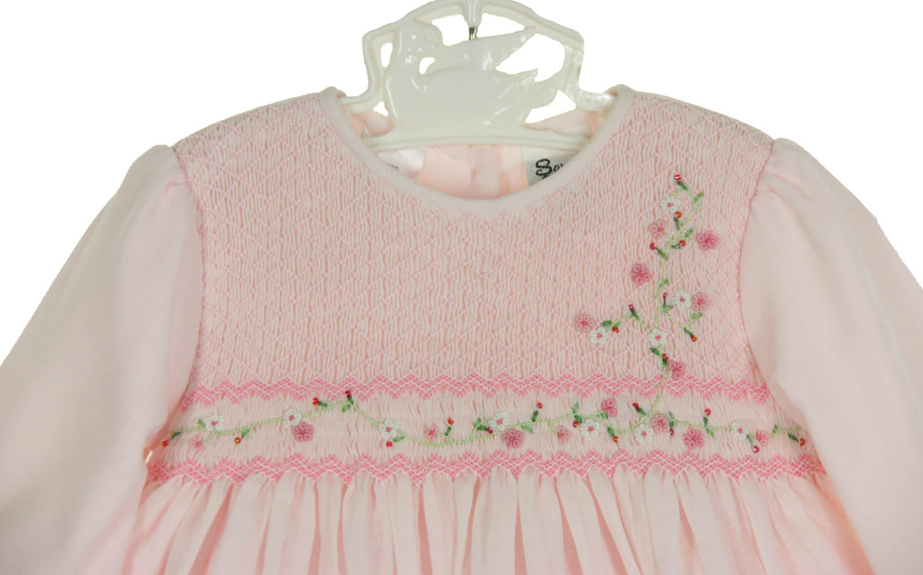 NEW Sarah Louise Pink Voile Smocked Dress with Exquisitely Embroidered Pink  Floral Spray and Delicate Beading 5e8dad31e0