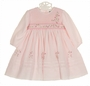 NEW Sarah Louise Pink Voile Smocked Dress with Exquisitely Embroidered Pink Floral Spray and Delicate Beading