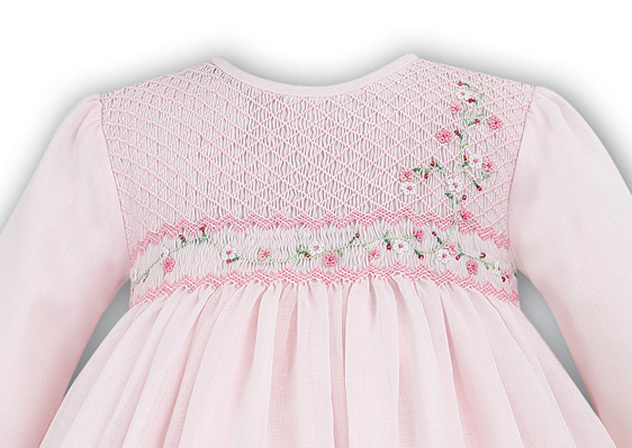 Sarah Louise Pink Voile Smocked Dress With Exquisite