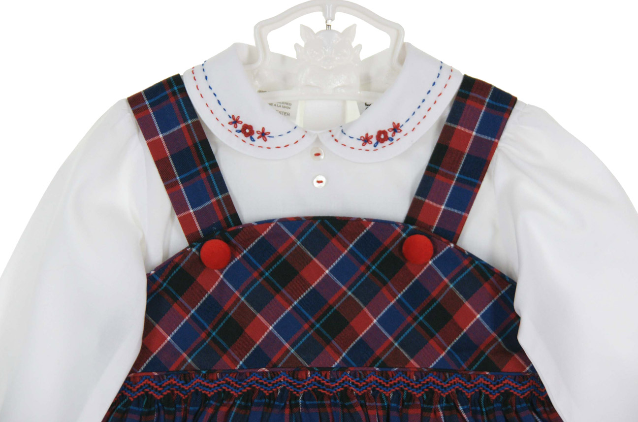 Sarah Louise red and blue plaid jumper style smocked dress