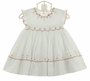 NEW Sarah Louise Red and White Flowered Smocked Pinafore Dress with Ruffled Diaper Cover