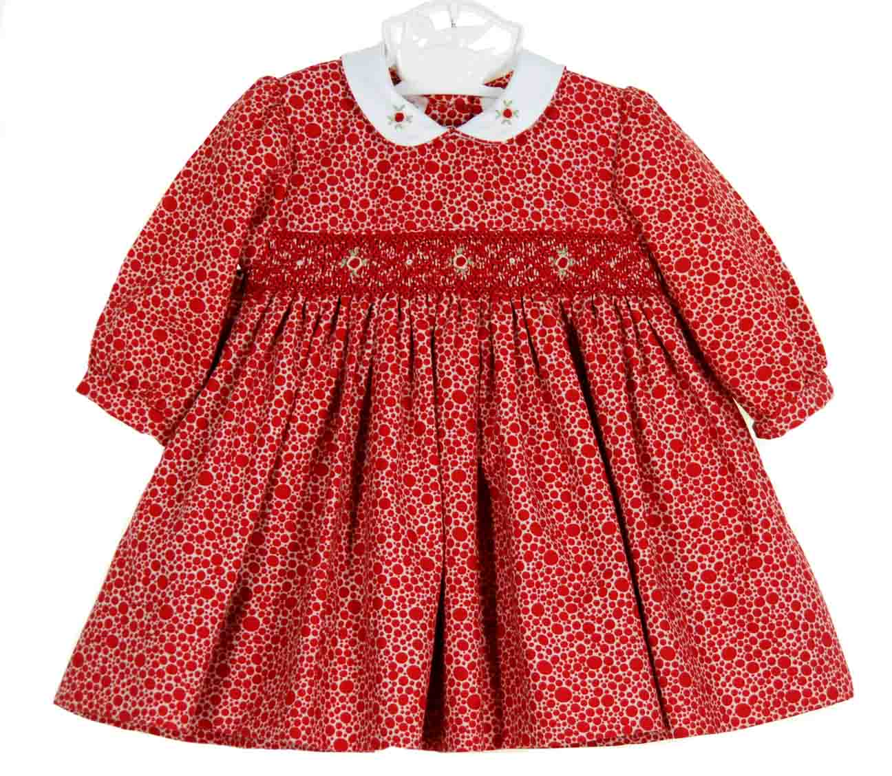 a992efa76216 Sarah Louise red dotted twill smocked dress
