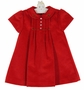 NEW Sarah Louise Red Velvet Dress with Pintucks and Embroidery