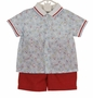 NEW Sarah Louise Retro Style Airplane Print Shirt and Shorts Set
