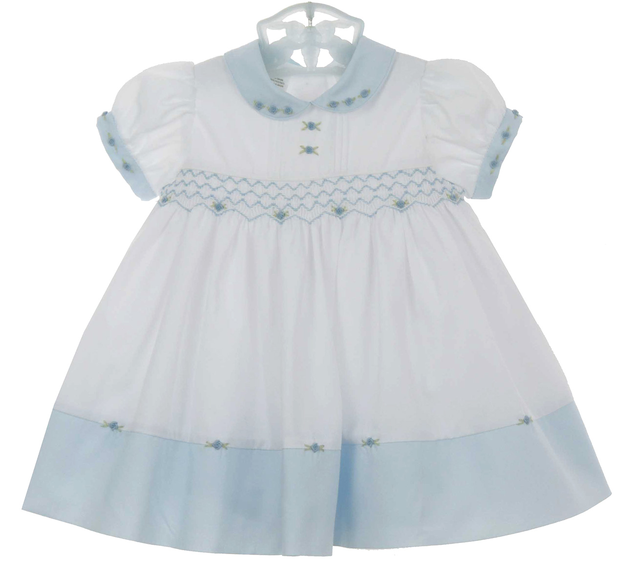 488a93b326f91 Sarah Louise vintage style blue and white smocked dress
