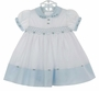 NEW Sarah Louise Vintage Style Blue and White Smocked Dress with Embroidered Rosebuds