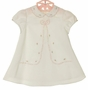 NEW Sarah Louise Vintage Style Ivory Dress with Bow Applique and Pink Rosebuds