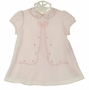 NEW Sarah Louise Vintage Style Pink Dress with Appliqued Bow and Pink Rosebuds