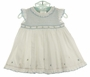 NEW Sarah Louise White and Blue Smocked Ruffled Dress with Matching Diaper Cover