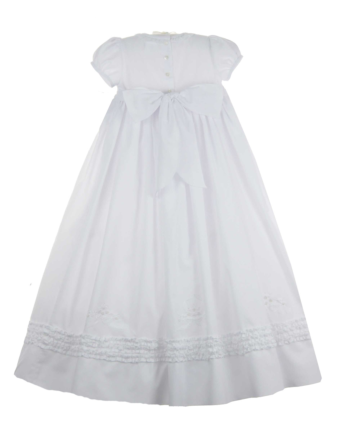 Sarah Louise white batiste smocked christening gown with ruffles and ...