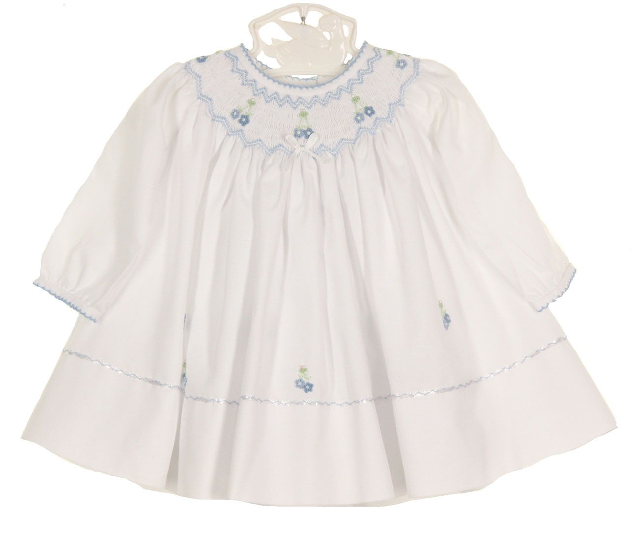 Sarah Louise white bishop smocked dress with blue flowers