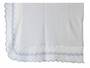 NEW Sarah Louise White Blanket with Blue Dots and Blue Scalloped Trim
