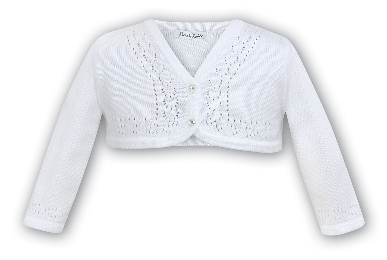 Sarah Louise White Cotton Cardigan Sweater For Baby Girlssarah