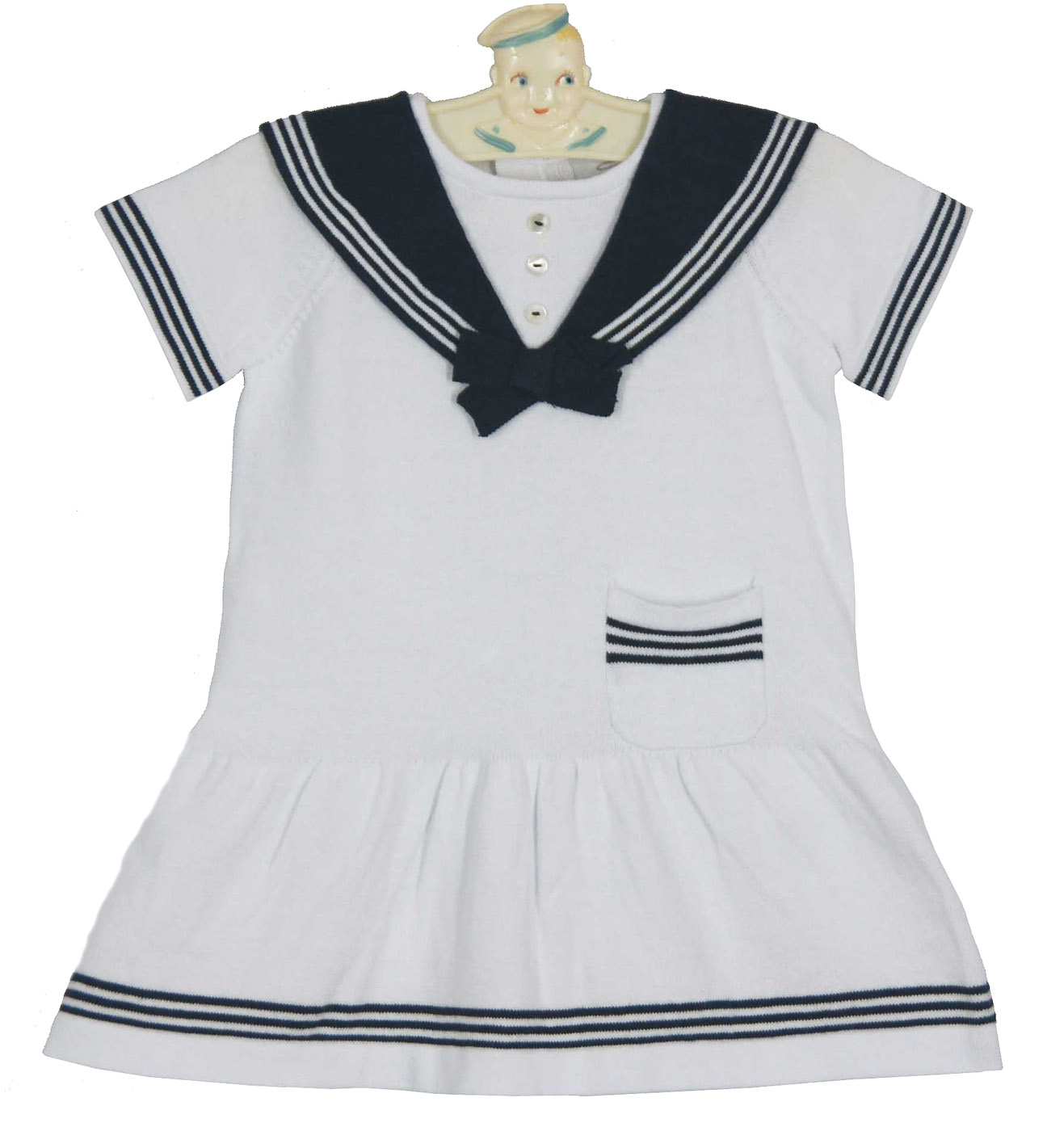 a36cf5438 NEW Sarah Louise White Cotton Knit Sailor Dress with Navy Trim