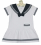NEW Sarah Louise White Cotton Knit Sailor Dress with Navy Trim