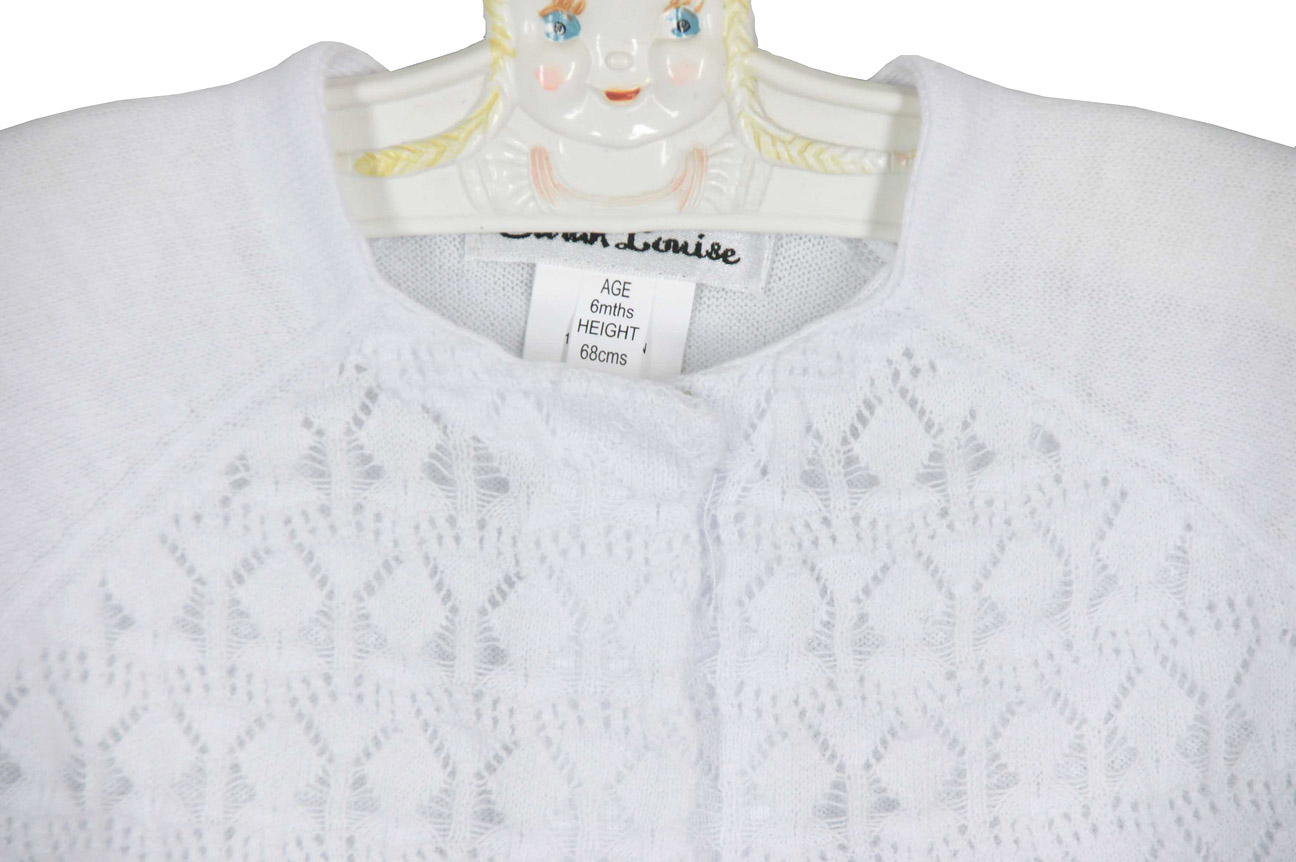 Sarah Louise white cotton knit bolero sweater with delicate ...
