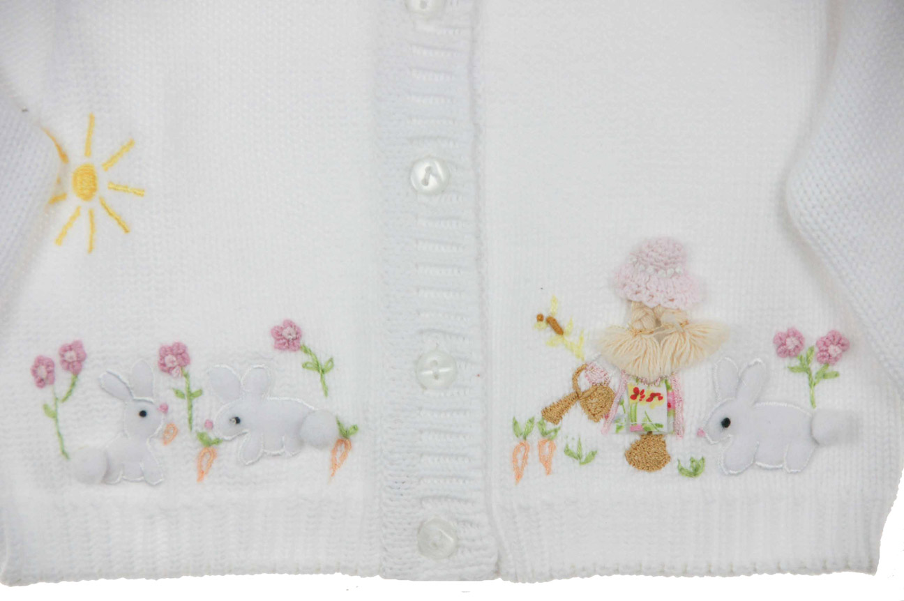 Sarah Louise white sweater with bunny embroidery 94943d781