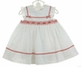 NEW Sarah Louise White Eyelet Smocked Dress with Red Gingham Trim