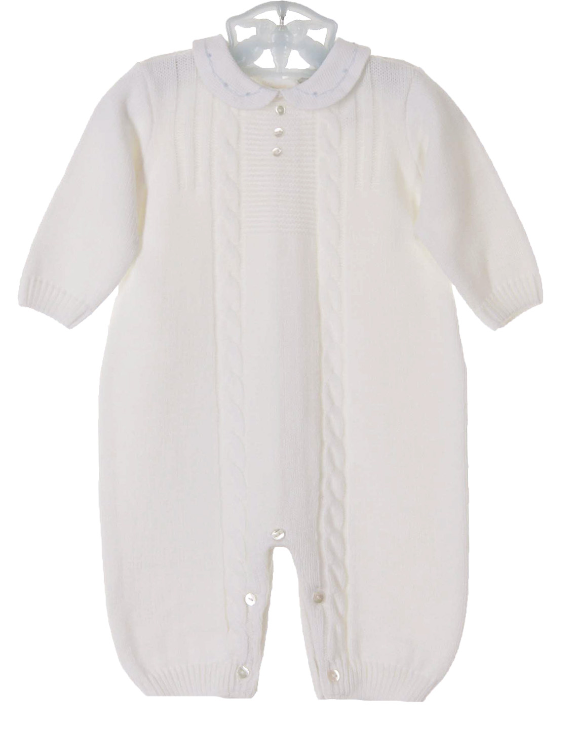 New Sarah Louise White Knit Romper With Embroidered White