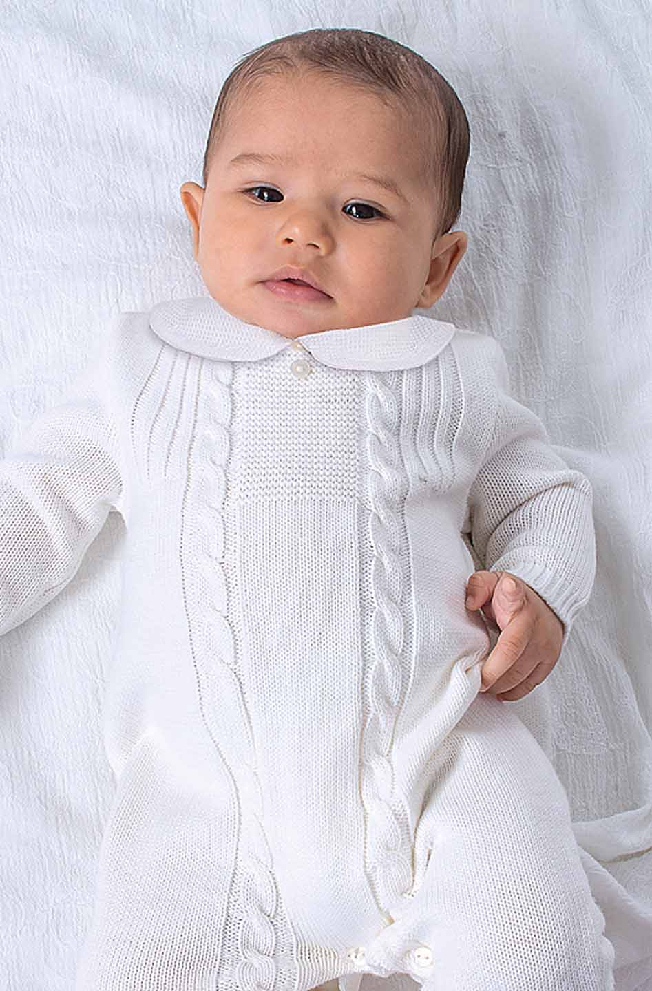 Sarah Louise White Knit Romper With Embroidered Collar