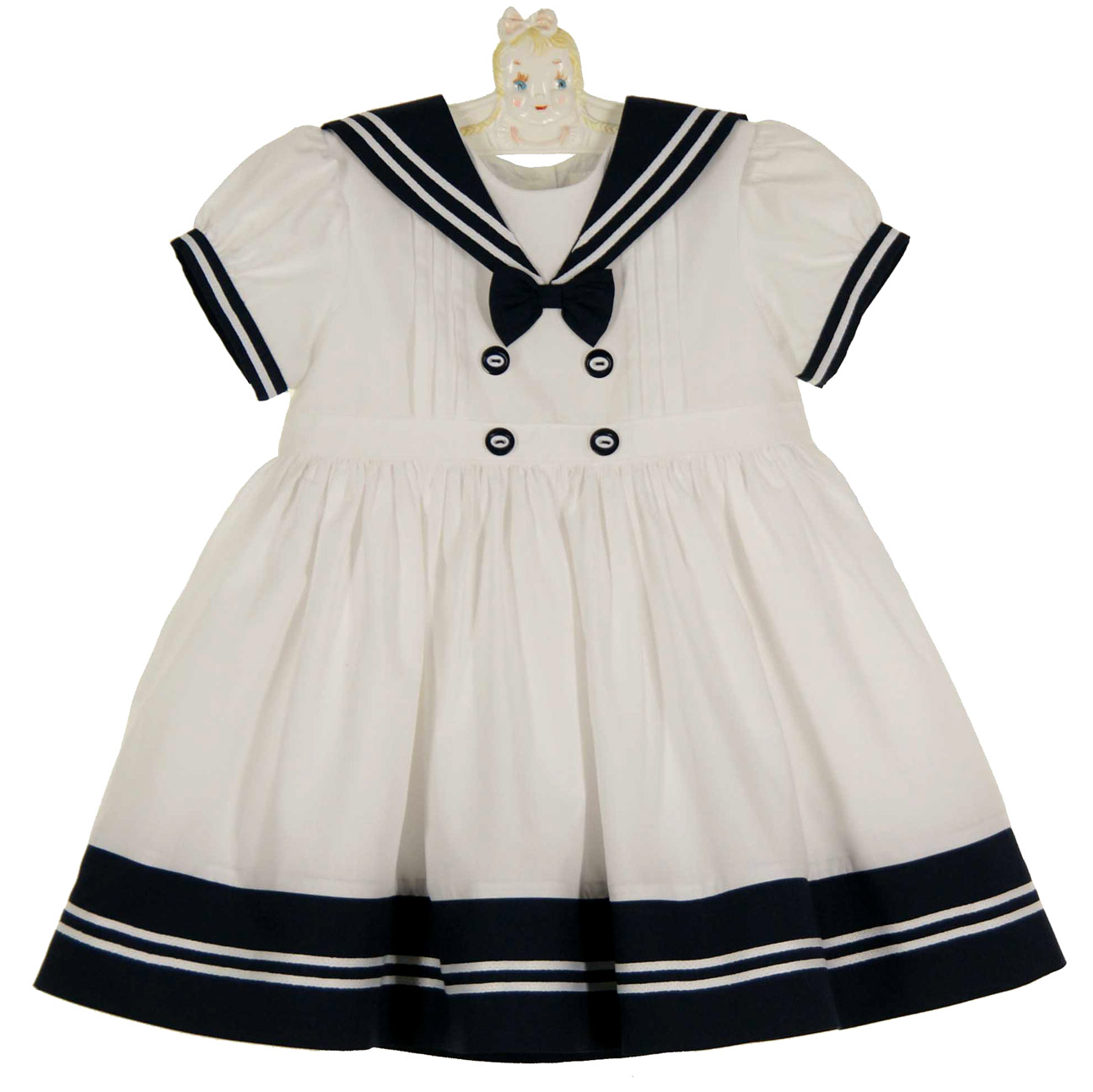Sarah Louise White Sailor Dress White And Navy Sailor