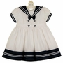 NEW Sarah Louise White Pintucked Sailor Dress with Navy Trim