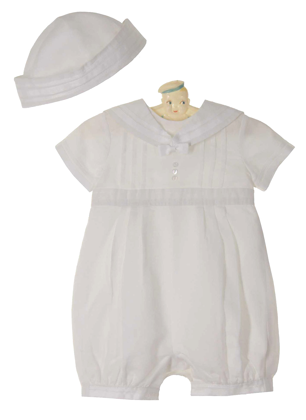Sarah Louise white linen blend sailor romper and hat set,baby boys ...