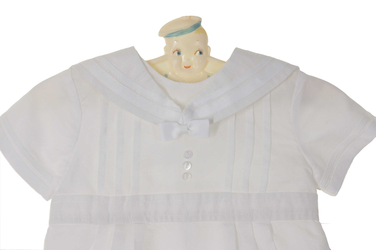add1c00668cd NEW Sarah Louise White Sailor Romper and Hat Set with White Braid Trim