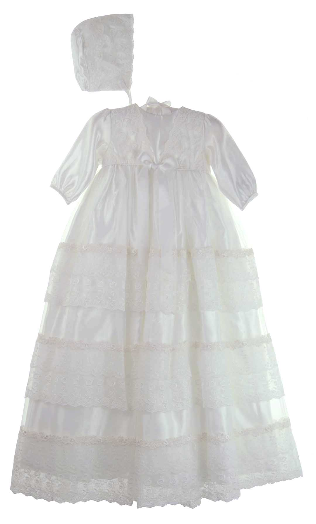 Sarah Louise white satin christening gown,white satin and lace ...