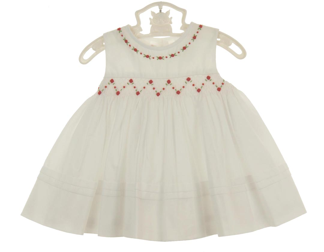 aeadc2a24fb NEW Sarah Louise White Sleeveless Smocked Dress with Embroidered Red  Rosebuds