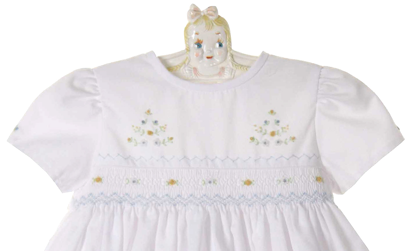 Sarah Louise White Smocked Dress With Blue And Yellow Embroidered