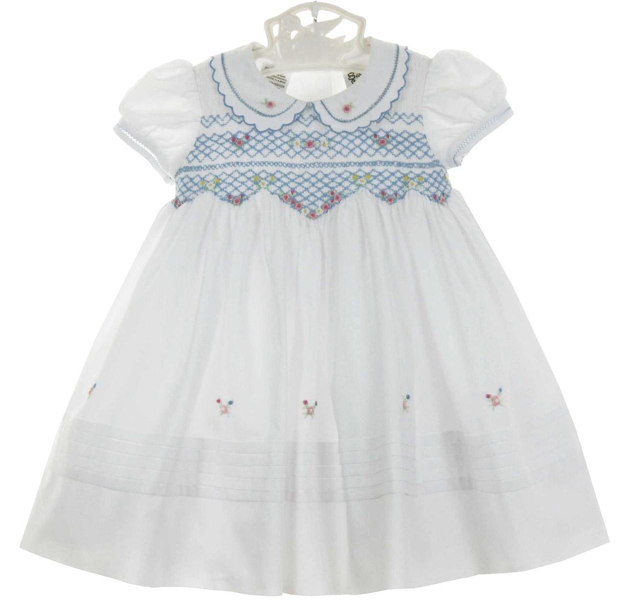 Sarah Louise blue and white smocked dress with embroidered flowers ...