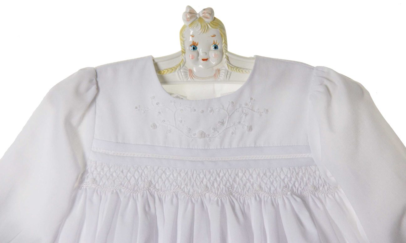 Sarah Louise white smocked dress with beading and