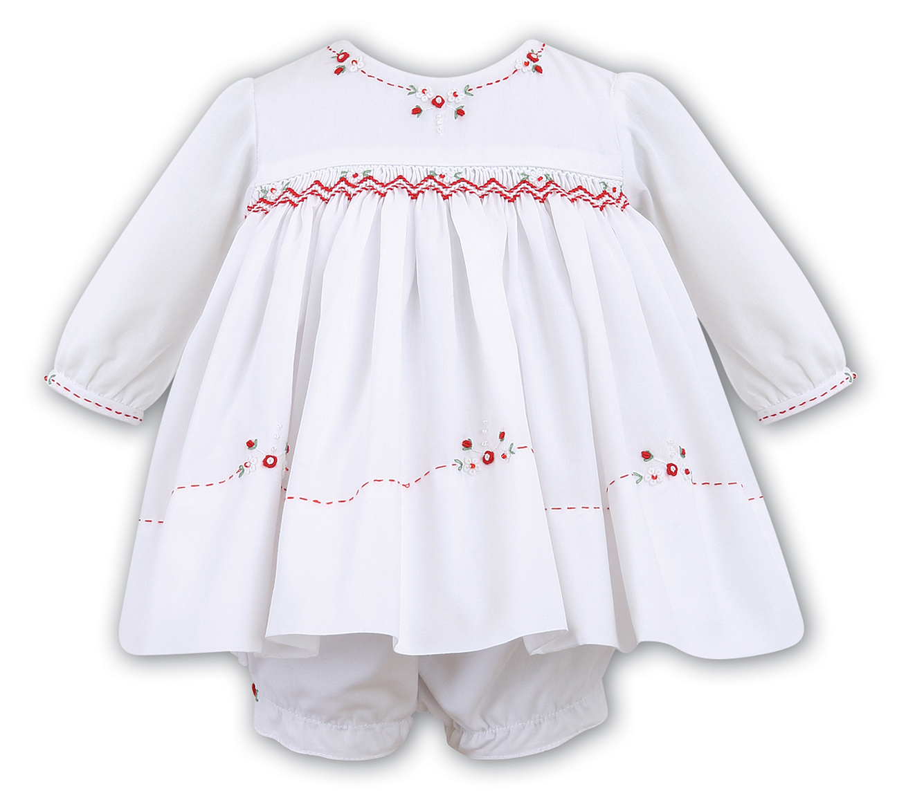 4124bb3a9bdfa NEW Sarah Louise White Smocked Dress and Ruffled Diaper Cover with ...