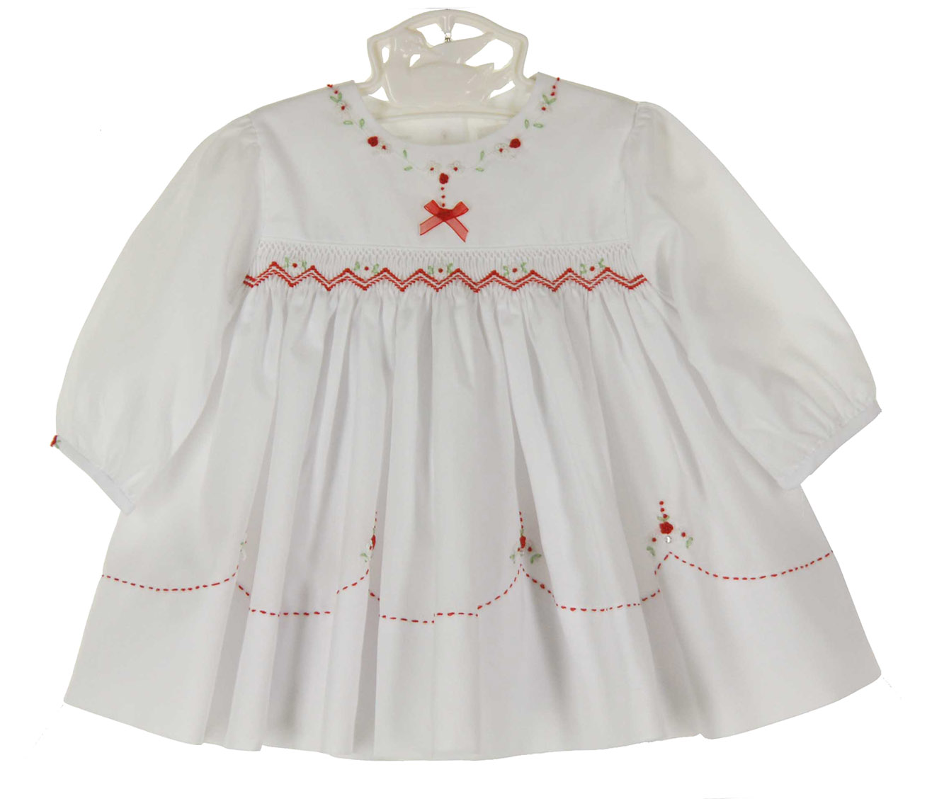 f37210bc9a5d NEW Sarah Louise White Smocked Dress with Red Embroidered Flowers