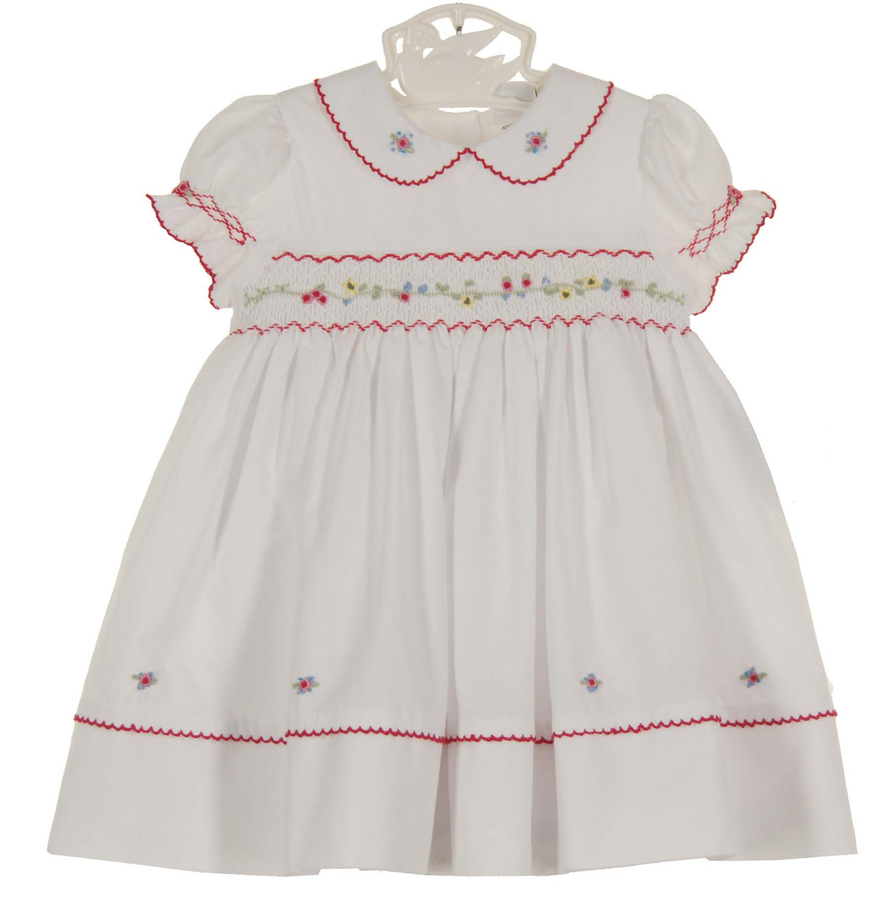 Sarah Louise White Smocked Dress With Red Embroidered Flowersbaby