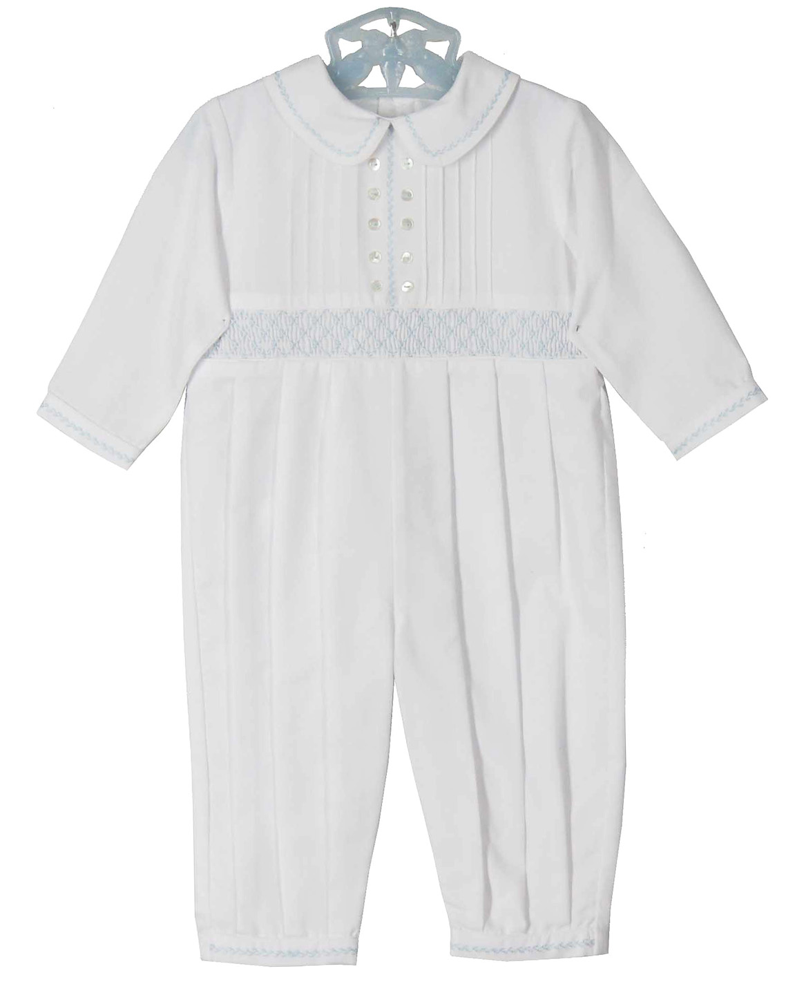 d854db13c NEW Sarah Louise White Smocked Romper with Pintucks and Blue  Featherstitching