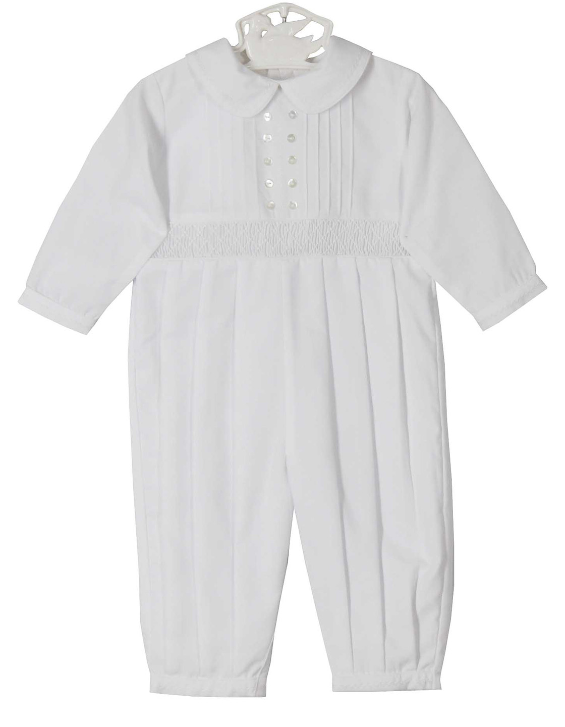 b745e05e4 NEW Sarah Louise White Smocked Romper with Pintucks and White  Featherstitching