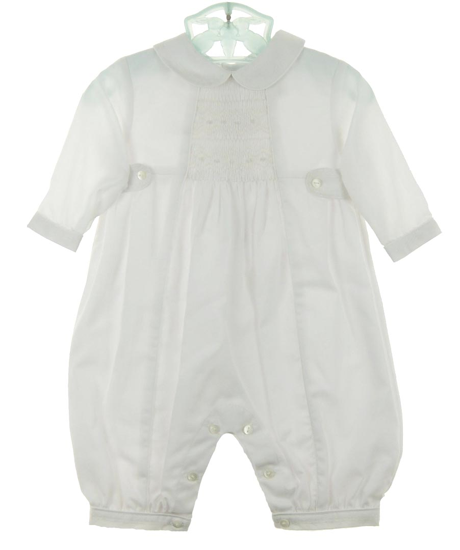 2417e2d5b365 NEW Sarah Louise White Smocked Romper with White Embroidered Collar and  Side Tabs