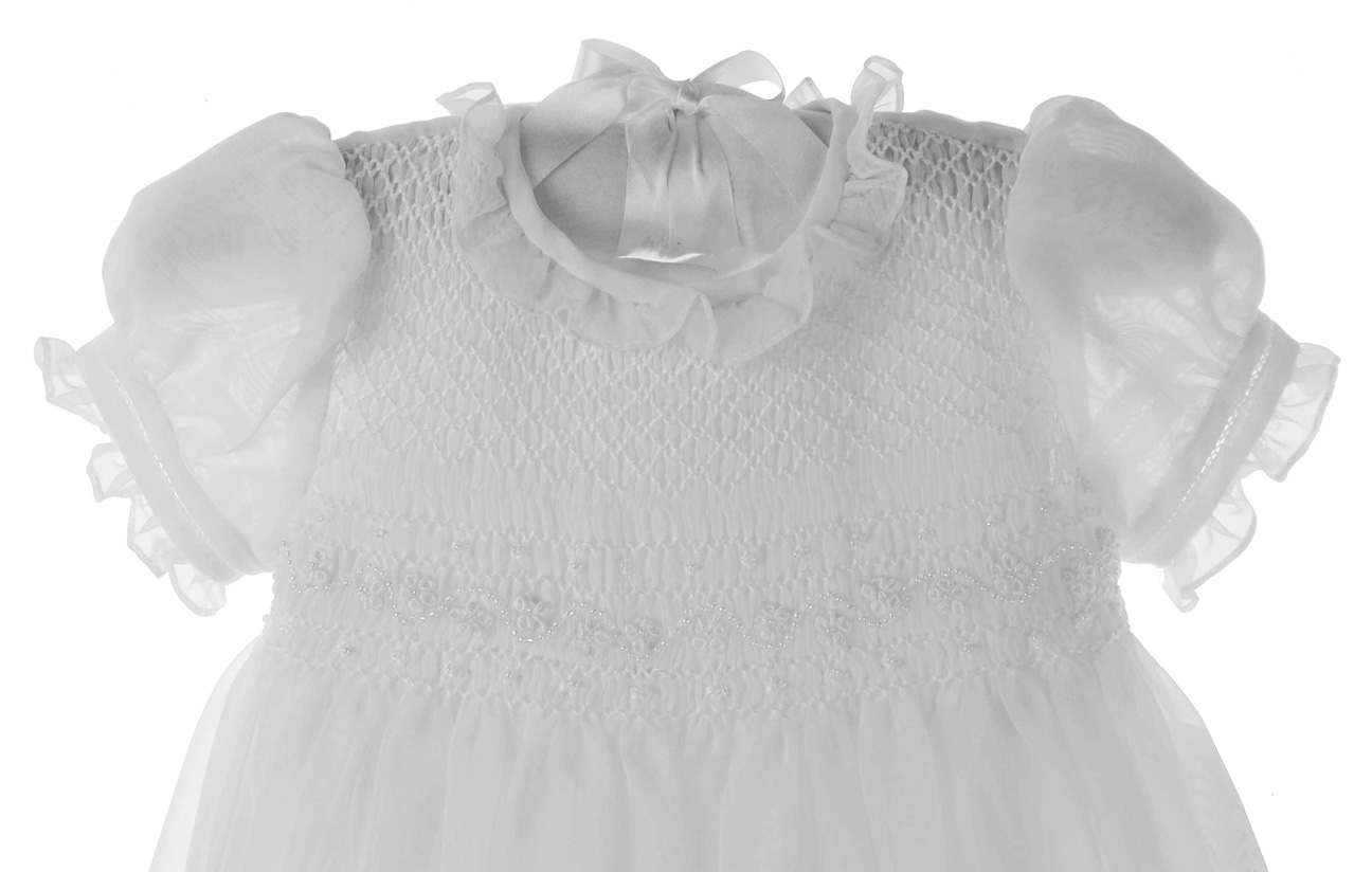8ad9cad53 NEW Sarah Louise White Smocked Tulle Christening Gown with Matching Bonnet