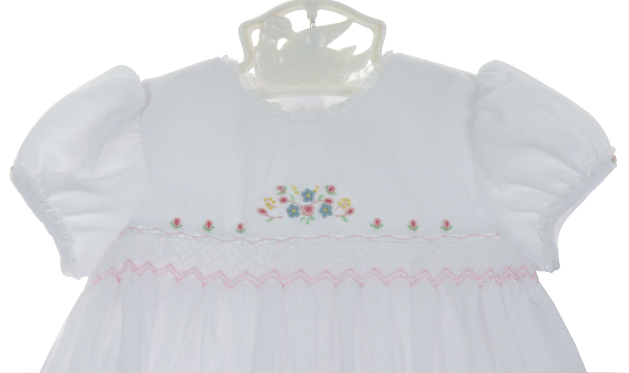 Sarah Louise White Voile Smocked Dress With Pink Rosebuds