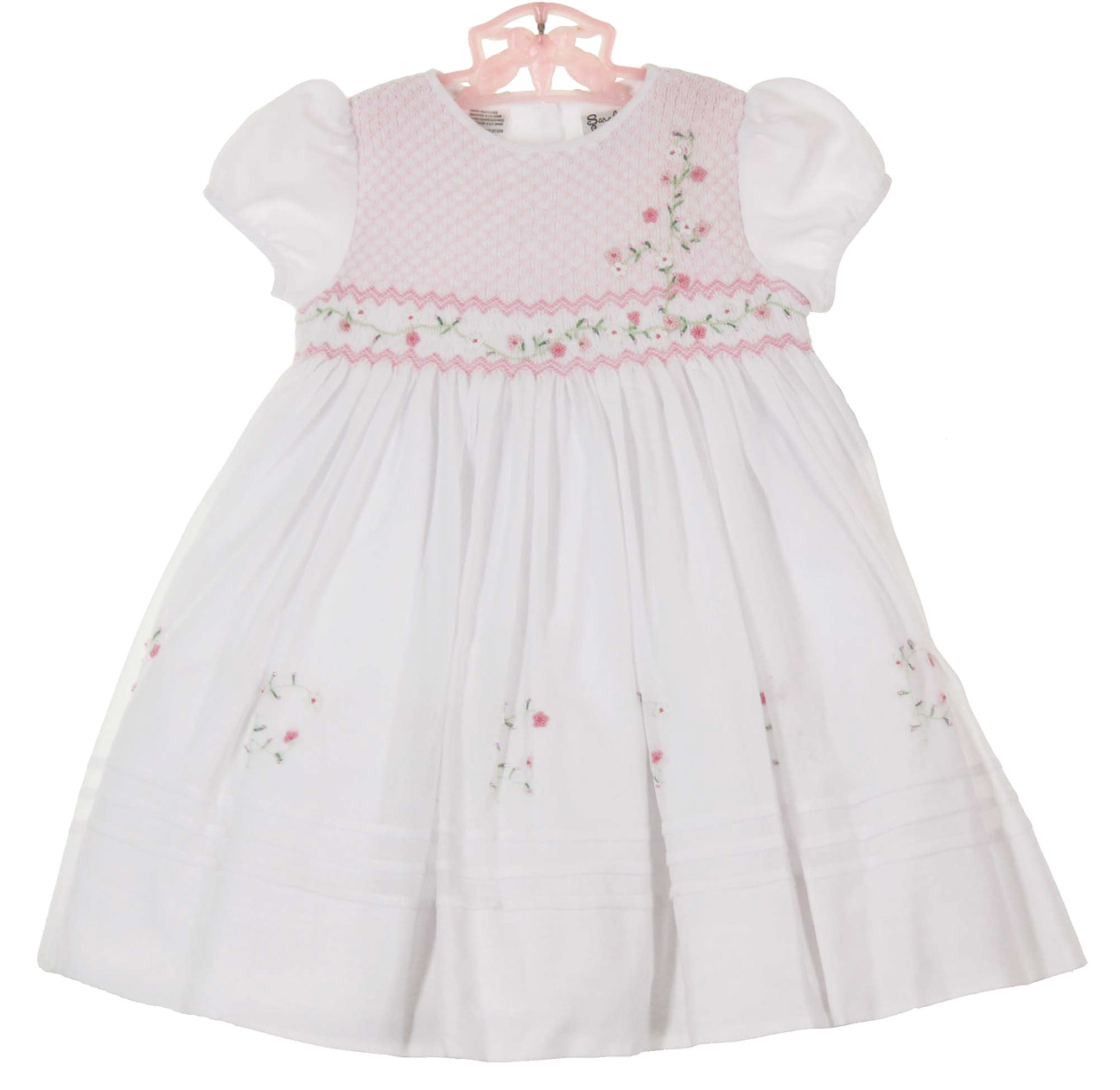 b431051690 Sarah Louise white voile smocked dress with exquisite embroidery ...
