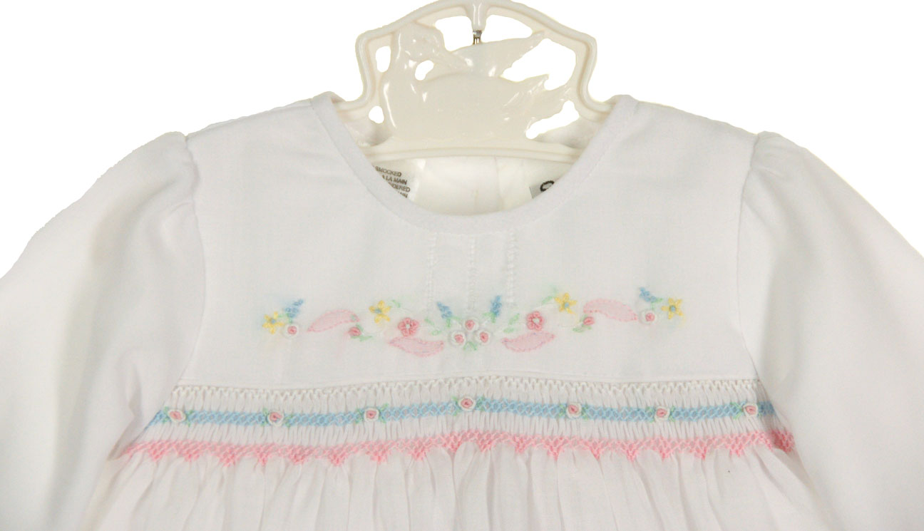 ab0bdfff91d7 NEW Sarah Louise White Voile Smocked Dress with Openwork and Pastel ...
