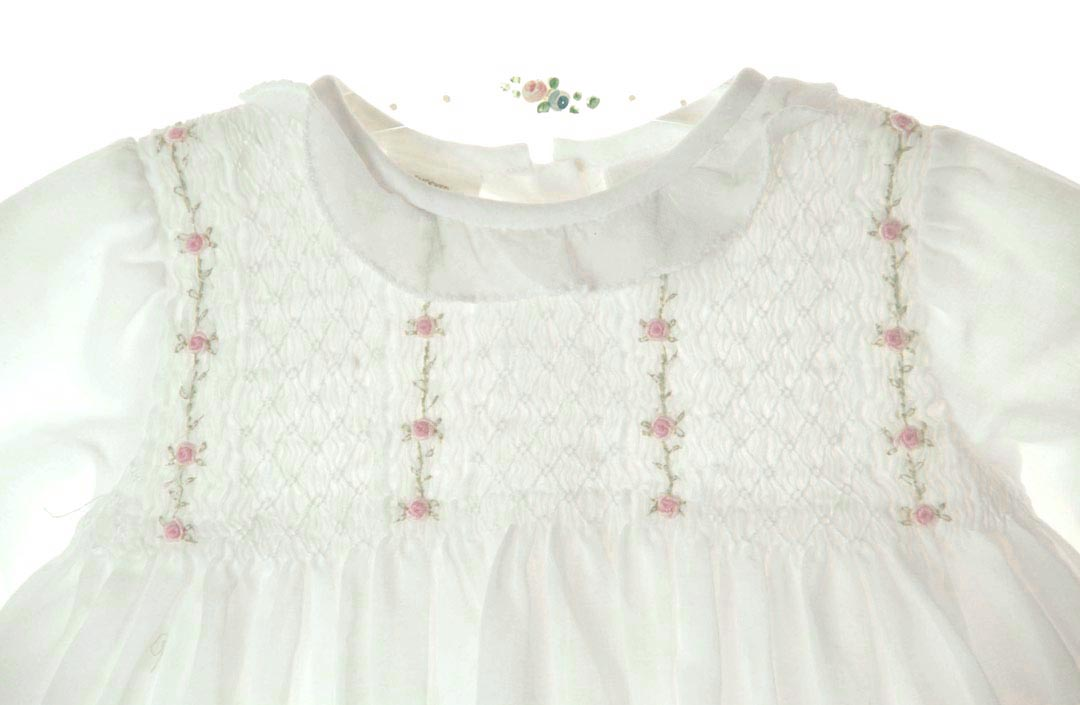 a97b6fa3e751 NEW Sarah Louise White Voile Smocked Dress with Rosebud Vines Embroidery