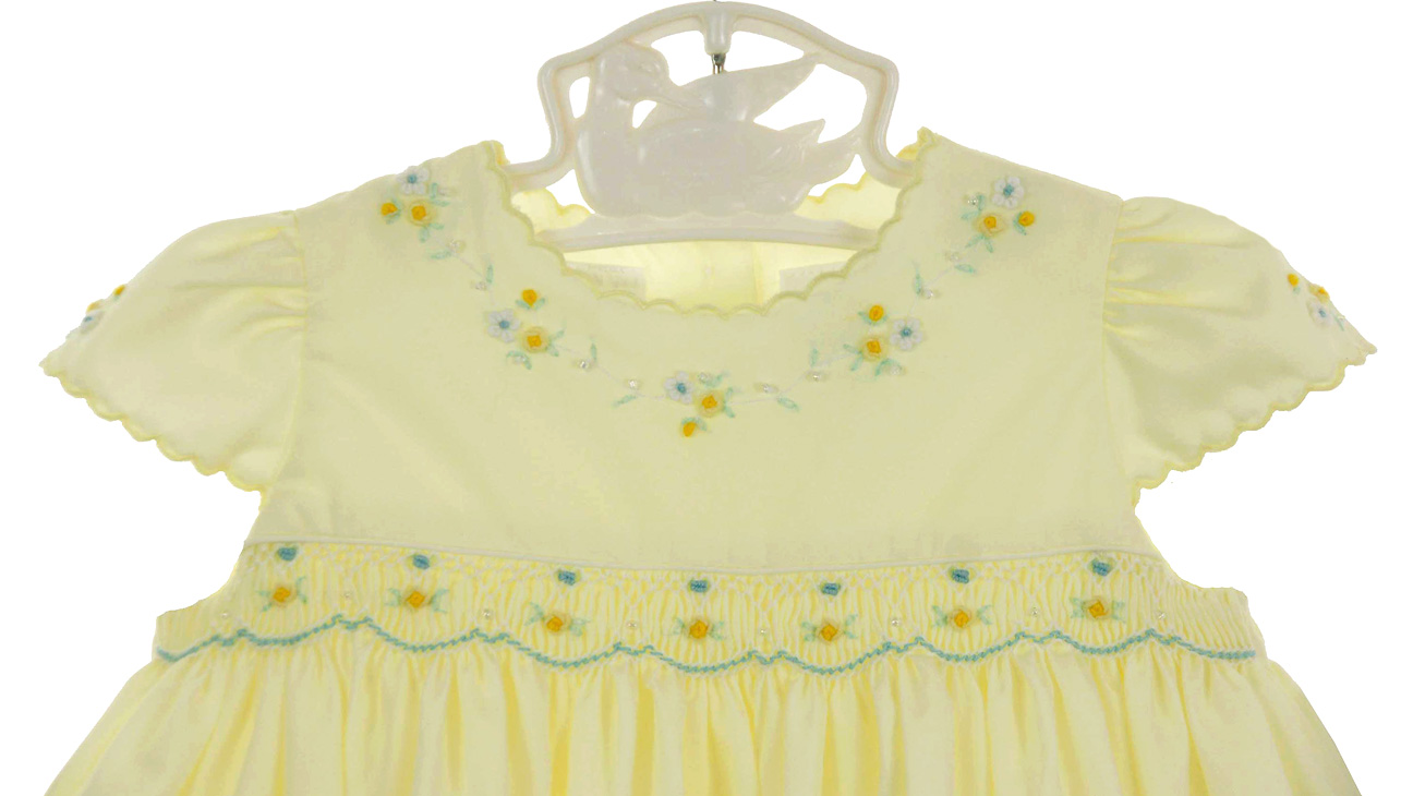 Sarah Louise Yellow Smocked Dress With Blue And Yellow