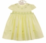 NEW Sarah Louise Yellow Smocked Dress with Cap Sleeves, Yellow Rosebuds, and Blue Embroidery