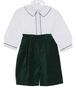 NEW Sophie Dess Green Velvet Shorts Set with White Shirt