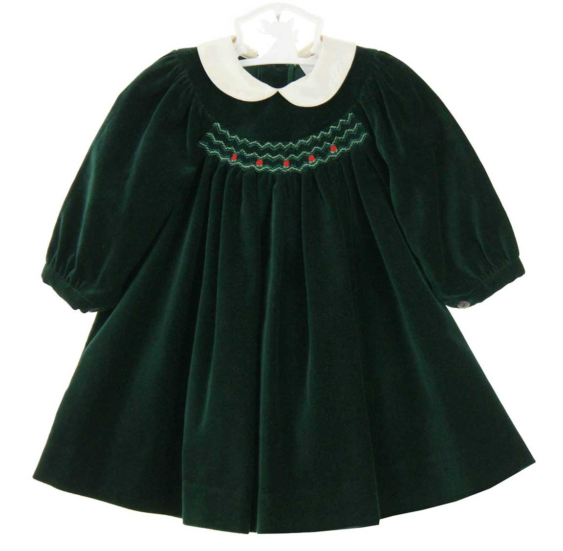 Sophie Dess green velvet smocked dress with ivory silk collar ...