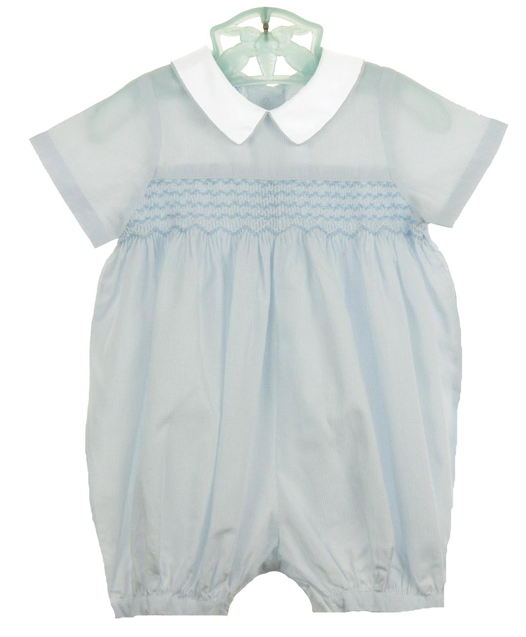 4f3734533ed NEW Sophie Dess Smocked Cotton Romper with Tiny Blue Checks and White Collar
